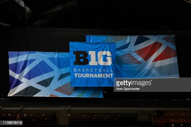The B1G logo on display during the game between the Illinois Fighting Illini and the Purdue Boilermakers on March 06 at Bankers Life Fieldhouse in...