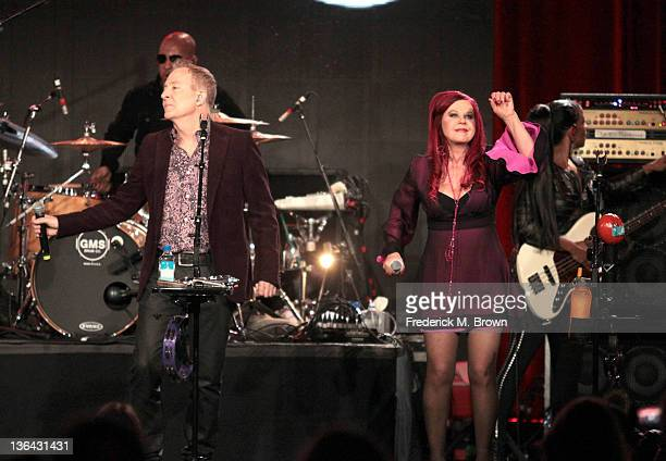 The B-52's perform during the 'B-52's With the Wild Crowd' panel during the PBS portion of the 2012 Winter TCA Tour held at The Langham Huntington...