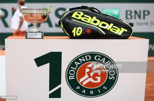 The Babolat bag of Rafael Nadal of Spain displays his ten wins at Roland Garros following the mens singles final match between Rafael Nadal of Spain...