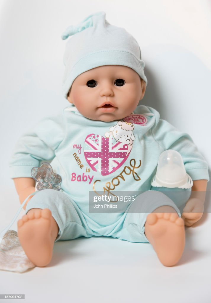 The 'Baby George' doll is displayed at the Dream Toys 2013 press day at St Mary's on November 6, 2013 in London, England.