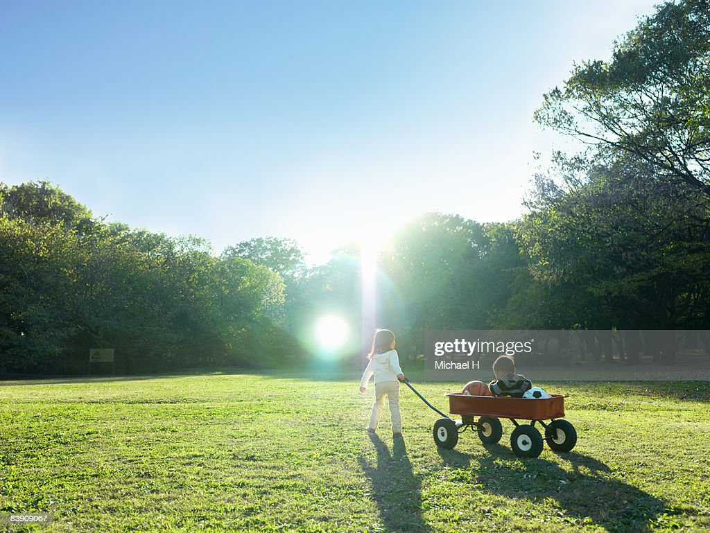 The baby is taken to the wagon and it pulls it.  : Stock Photo