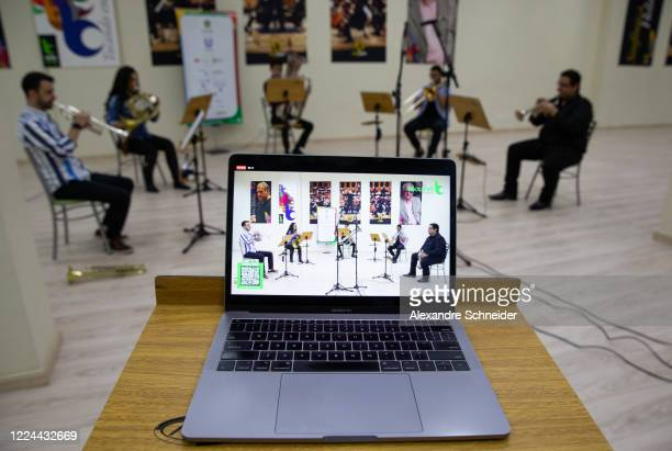 The Baccarelli Institute's wind quintet play during a live-stream performance to raise funds for donations at the Baccarelli Institute headquarters...