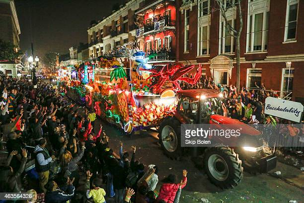 The Bacchatality float in the Krewe of Bacchus parade during Mardi Gras on February 15 2015 in New Orleans Louisiana