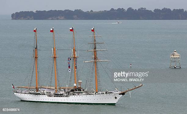 The Bach Esmerelda from Chile sails into the Waitemata Harbour as part of the fleet entry to celebrate the Royal New Zealand Navy's 75th anniversary...
