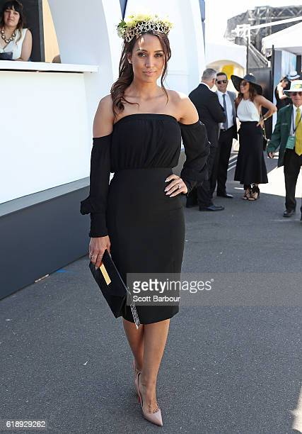 The Bachelor Australia's Snezana Markoski arrives on Derby Day at Flemington Racecourse on October 29 2016 in Melbourne Australia