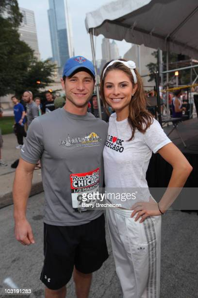 The Bachelor Jake Pavelka and Access Hollywood's Maria Menounos attend the Rock 'n' Roll Half Marathon on August 1 2010 in Chicago Illinois