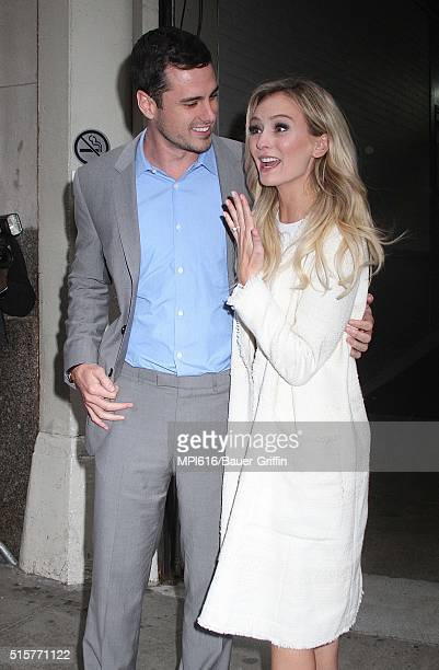 The Bachelor stars Ben Higgins and fiancee Lauren Bushnell seen leaving 'AOL Build' on March 15 2016 in New York City
