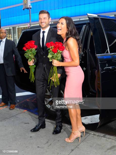 The Bachelorette Becca Kufrin and Garrett Yrigoyen are seen arriving at Good Morning America on August 7 2018 in New York City