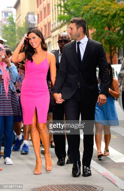 The Bachelorette Becca Kufrin and Garrett Yrigoyen are seen arriving at 'Good Morning America' on August 7 2018 in New York City