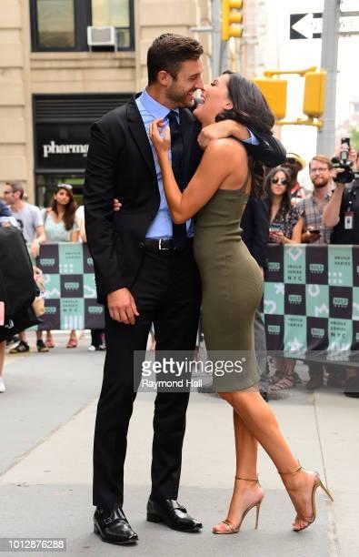 The Bachelorette Becca Kufrin and Garrett Yrigoyen are seen outside AOL Live on August 7 2018 in New York City