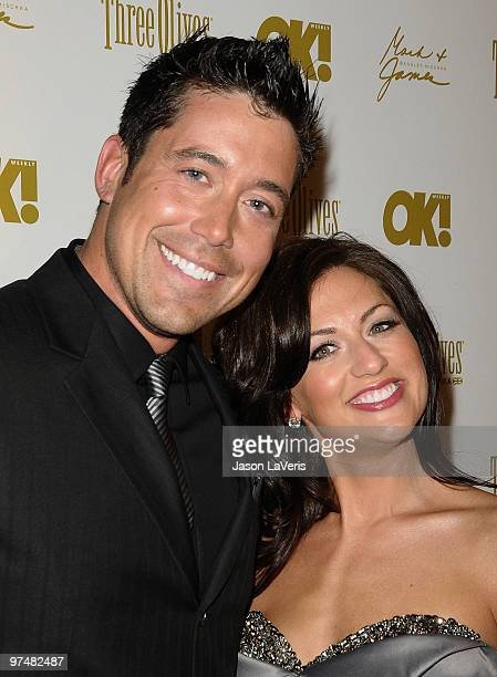 The Bachelorette Jillian Harris and fiance Ed Swiderski attend the OK Magazine preOscar party at Beso on March 5 2010 in Hollywood California