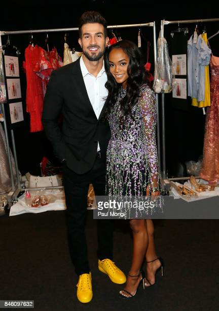 The Bachelorette Rachel Lindsay and Bryan Abasolo backstage at the Badgley Mischka fashion show during New York Fashion Week The Shows at Gallery 1...