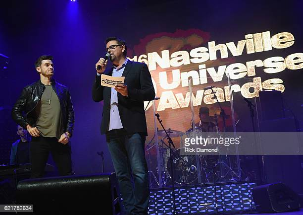 The Bachelor's Luke Pell and Siriusxm The Highway's Storme Warren attend the 2016 Nashville Universe Awards at Wildhorse Saloon on November 7 2016 in...