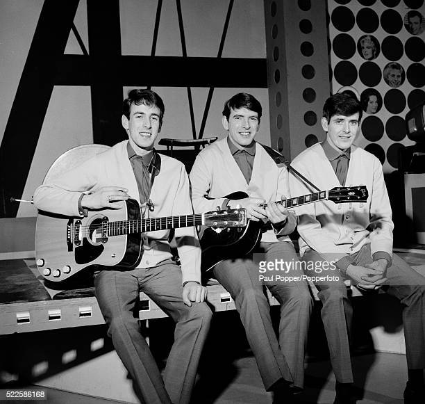 The Bachelors photographed at the BBC Dickenson Road Studio in Manchester during rehearsals for Top of the Pops, circa 1964. Left to right: Conleth...