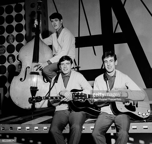 The Bachelors photographed at the BBC Dickenson Road Studio in Manchester during rehearsals for Top of the Pops, circa 1964. Left to right: John...