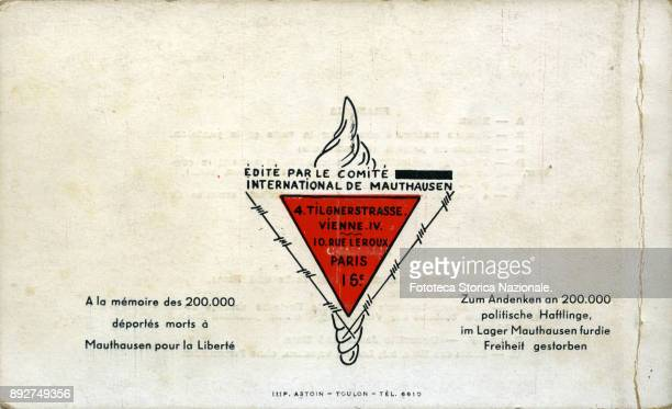 The back cover of a French documentary booklet containing images and drawings executed by a prisoner of the concentration camp of Mauthausen The...