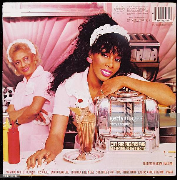 The back cover of the Donna Summer album 'She Works Hard for the Money' released in 1983