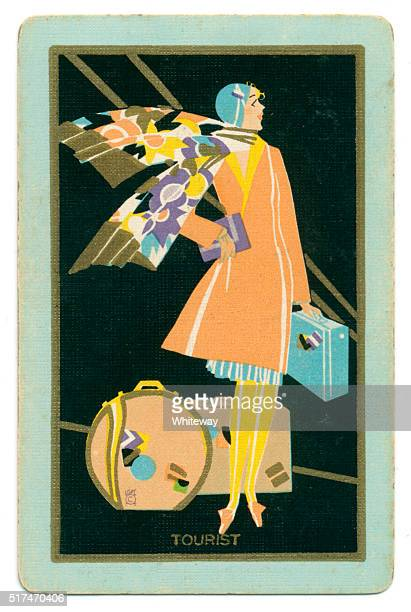 art deco playing card back design tourist lady 1927 - art deco stock pictures, royalty-free photos & images