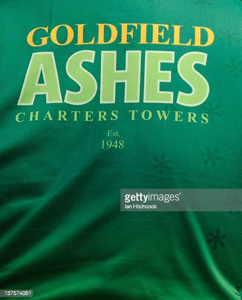 The back of a shirt of one of the players who is participating in the 2012 Goldfield Ashes cricket competition is seen on January 21 2012 in Charters...