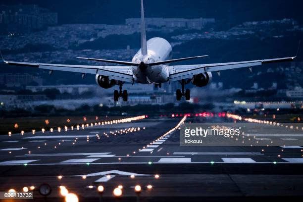 the back of an airplane to take off. - plane stock photos and pictures