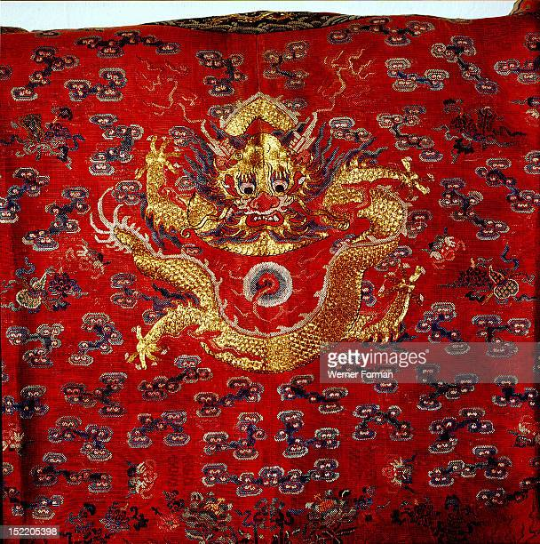 The back of an official court robe belonging to a eunuch of the court of the Empress Dowager Tzu hsi It is embroidered with an imperial dragon China...