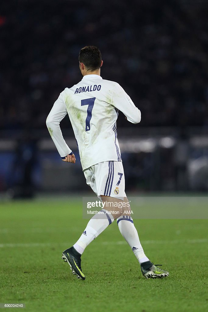The back of Cristiano Ronaldo of Real Madrid showing his number 7 on the back of his shirt and on his shorts during the FIFA Club World Cup final match between Real Madrid and Kashima Antlers at International Stadium Yokohama on December 18, 2016 in Yokohama, Japan.