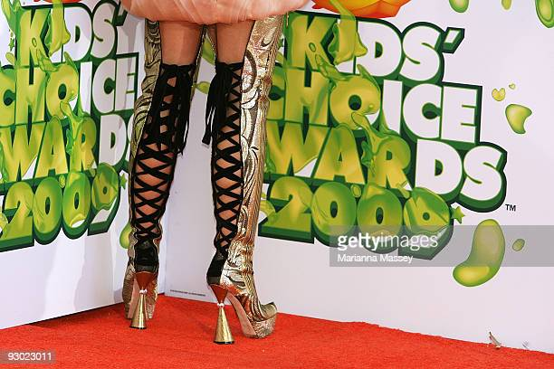 The back of Delta Goodrem's boots are seen as she arrives for the Australian Nickelodeon Kids' Choice Awards 2009 at Hisense Arena on November 13...