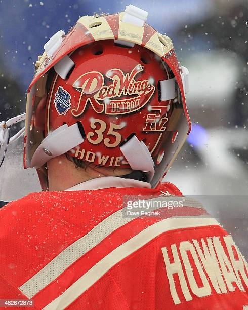 The back of Jimmy Howard of the Detroit Red Wings custom painted mask during the Bridgestone NHL Winter Classic game against the Toronto Maple Leafs...