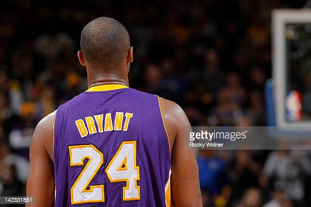 The back of Kobe Bryant of the Los Angeles Lakers in a game against the Golden State Warriors on March 27 2012 at Oracle Arena in Oakland California...