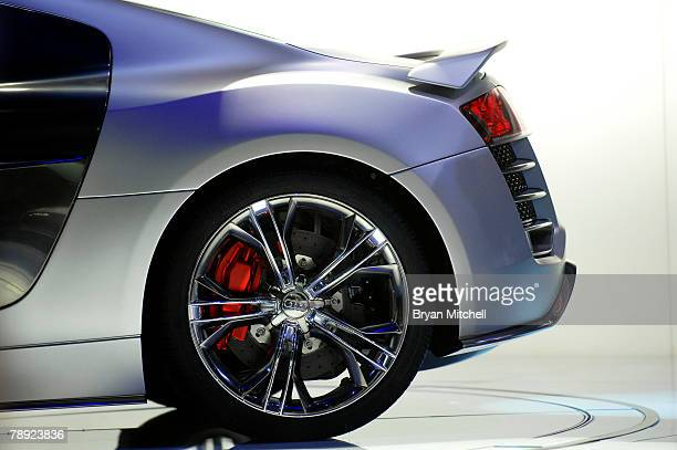 The back of the Audio R8 V12 TDI concept car is on display during the introduction of the car to the media during the press preview days at the North...