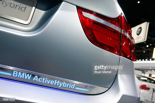 The back of the BMW Concept X6 Hybrid is displayed during the press preview days at the North American International Auto show at Cobo Center January...