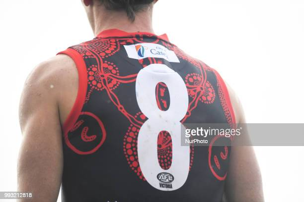 The back of the Casey Demons' indigenous guernsey during the VFL round 14 game between the Casey Demons and North Melbourne at Casey Fields in...