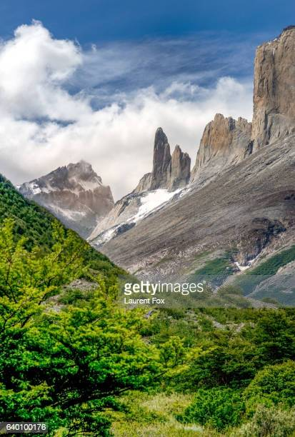 The back of the chain of mountains that include Mount Fitz Roy, in the Patagonian portion of Argentina.