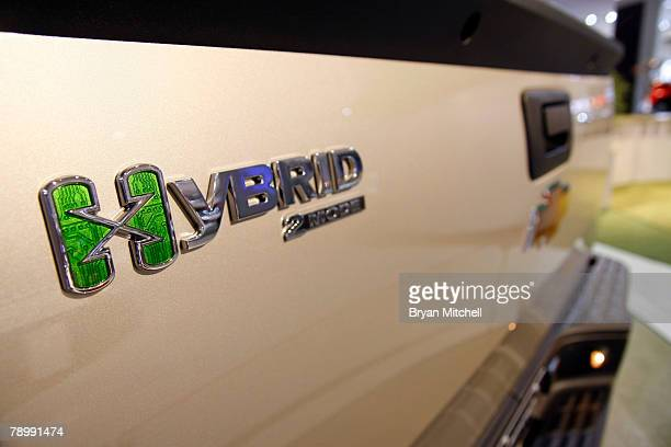 The back of the Chevy Silverado Hybrid truck is displayed during the press preview days at the North American International Auto show at Cobo Center...