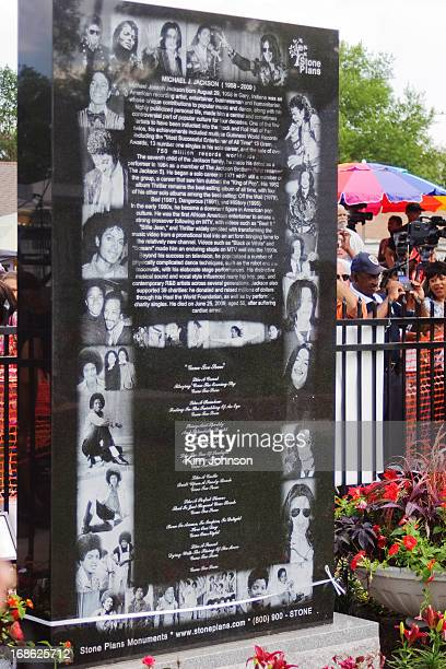 The back of the Memorial Stone dedicated to Michael Jackson by his mother, Kathryn Jackson, at his childhood home in Gary Indiana on the one year...