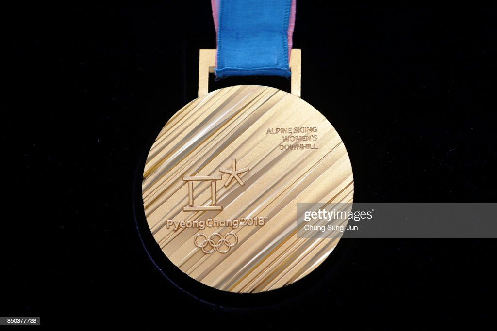 The back side of the gold medal on display at PyeongChang 2018 Olympic medal unveiling ceremony at the Seoul Dongdaemun Design Plaza on September 21, 2017 in Seoul, South Korea.
