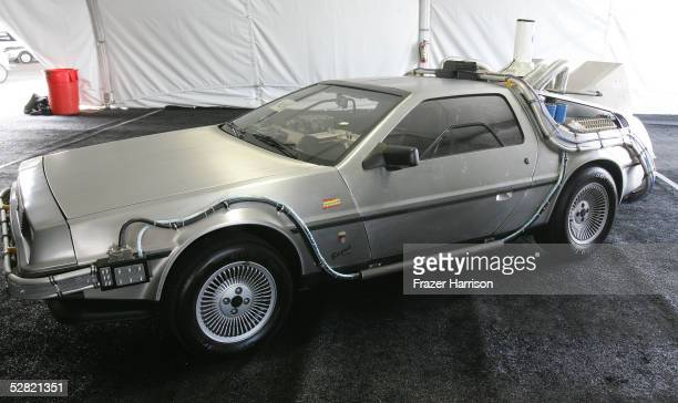 The 'Back To The Future' car is displayed at the Barris Star Car Collection Auction at the Petersen Automotive Museum on May 13 2005 in Los Angeles...