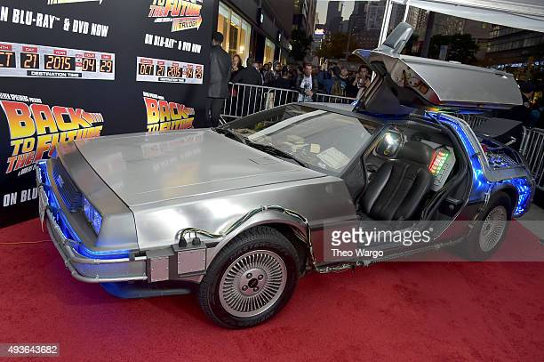 The 'Back To The Future' DeLorean DMC12 seen at the 'Back To The Future' New York special anniversary screening at AMC Loews Lincoln Square on...