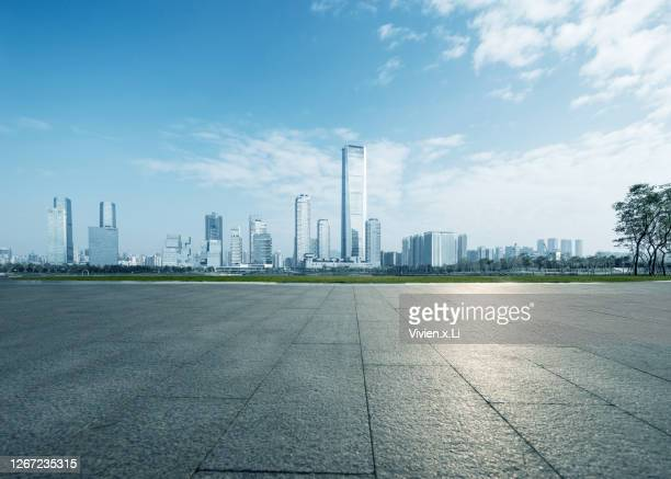 the background image of the ground foreground of the current financial city - differential focus stock pictures, royalty-free photos & images
