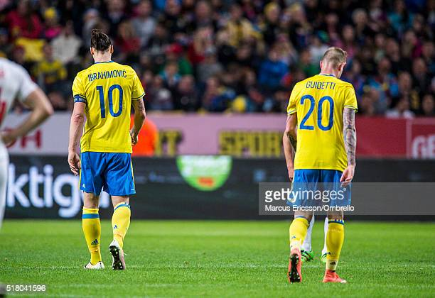 The backs of Swedens Zlatan Ibrahimovic and John Guidetti during the international friendly between Sweden and Czech Republic at Friends Arena on...