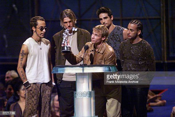 The Backstreet Boys accepting their Viewers Choice Award during the 1999 MTV Music Video Awards held at the Metropolitan Opera House Lincoln Center...