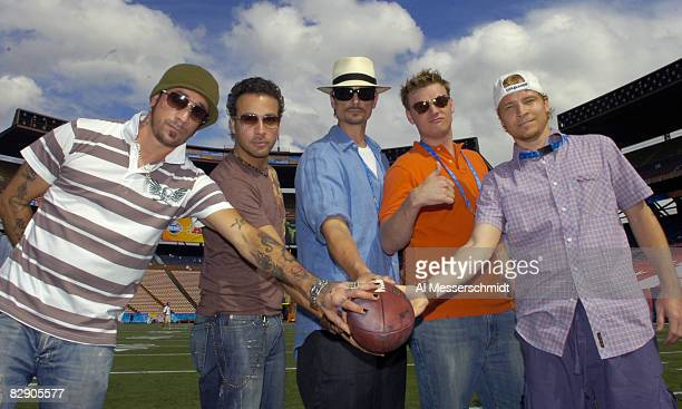 The Backstreet Boys AJ Mclean Howie Dorough Kevin Richardson Nick Carter and Brian Littrell after February 11 practice for 2006 Pro Bowl in Honolulu