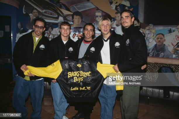 The Backstreet Boys at the Planet Hollywood Beverly Hills to donate an outfit from their recent world tour to Planet Hollywood's world renown...
