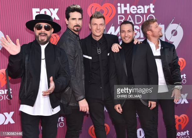 The Backstreet Boys members AJ McLean Kevin Richardson Nick Carter Howie Dorough and Brian Littrell arrives for the 2019 iHeart Radio Music Awards at...