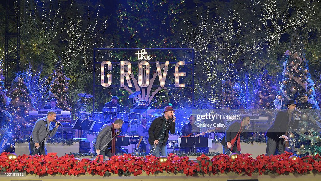 The Backstreet Boys perform at The Grove's 10th Annual Star Studded Holiday Tree Lighting Spectacular Presented By Citi at The Grove on November 11, 2012 in Los Angeles, California.