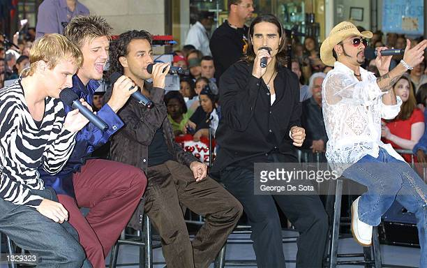 The Backstreet Boys perform July 2 2001 on the Today Show at Rockefeller Plaza in New York City From left to right are Brian Littrell Nick Carter...