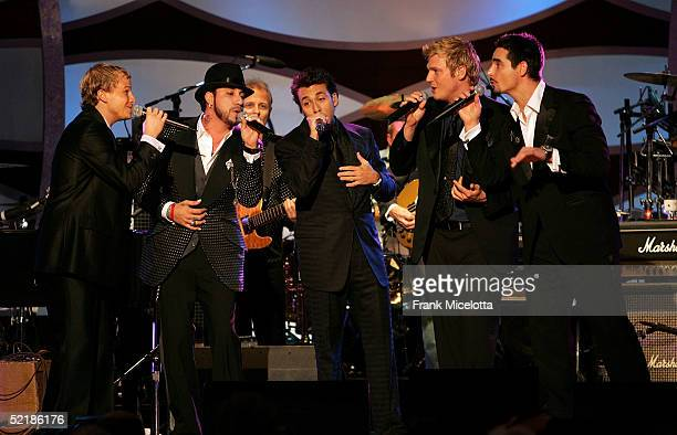 The Backstreet Boys perform onstage at the MusiCares 2005 Person of the Year Tribute to Brian Wilson at the Palladium on February 11 2005 in...