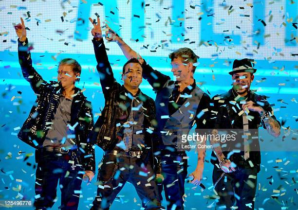 The Backstreet Boys perform onstage during the 2010 American Music Awards held at Nokia Theatre L.A. Live on November 21, 2010 in Los Angeles,...