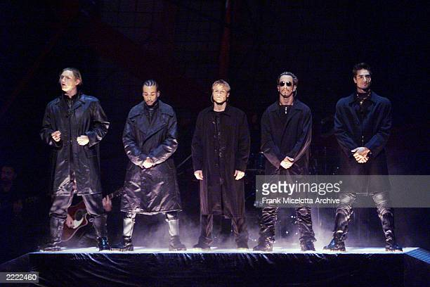 The Backstreet Boys performing during the 1999 MTV Music Video Awards held at the Metropolitan Opera House Lincoln Center in New York City on...