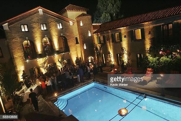 The backyard pool area is shown at CBS's Rock Star INXS Jam Sessions at the Rock Star Mansion on August 7 2005 in Los Angeles California
